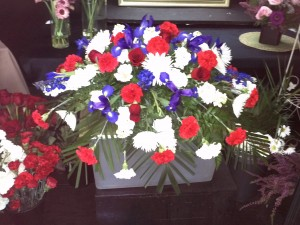 Casket Adornment Red, White, Blue Funeral Flowers