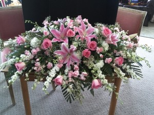 Casket Spray Casket Adornment Pink Funeral Flowers
