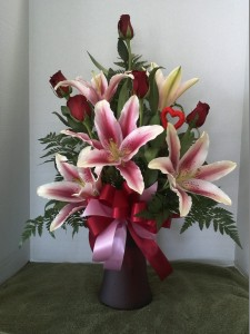 Funeral Flowers Orangevale stargazer lilies and red roses
