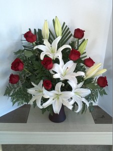 Funeral Flowers red roses and white lilies