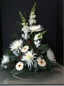 White lilies and bells of Ireland
