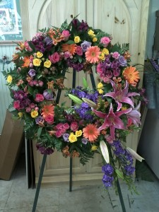 Mixed Funeral Flower Standing Spray Orangevale Florist 1