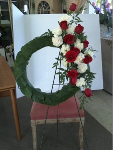 Green leaf wreath Funeral Flower Standing Spray Orangevale Florist Citrus Heights CA