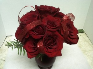 Funeral Flowers True Love bouquet victorian style, red roses